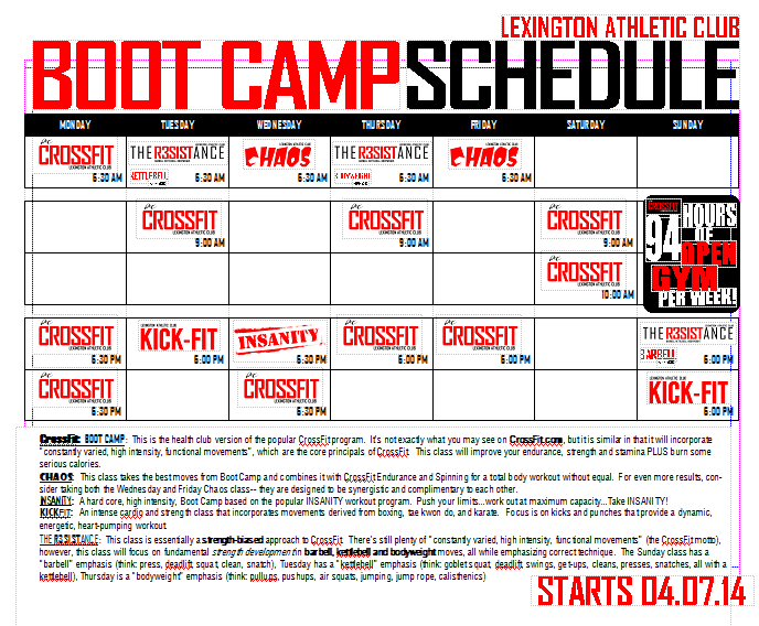 New LAC BOOT CAMP Schedule Starting April 7   Lexington Athletic Club